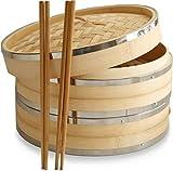 10Inch vaporera de bambú por Harcas. 2Tier. Mejor para Dim Sum, verduras, carne y pescado.