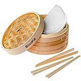 Vaporera de Bambú 25cm para Arroz, Dim Sum, Verduras, Carne y Pescado - Vaporera Bambu Para Cocinar al Vapor con 2 Pisos, 2 Pares de Palillos Reutilizable, 1 Pinzas y 50 Papeles para Cocinar al Vapor